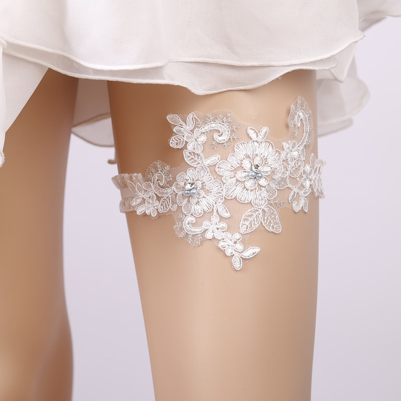 Why Two Garters For Wedding: Wedding Garter Blue Rhinestone White Embroidery Floral