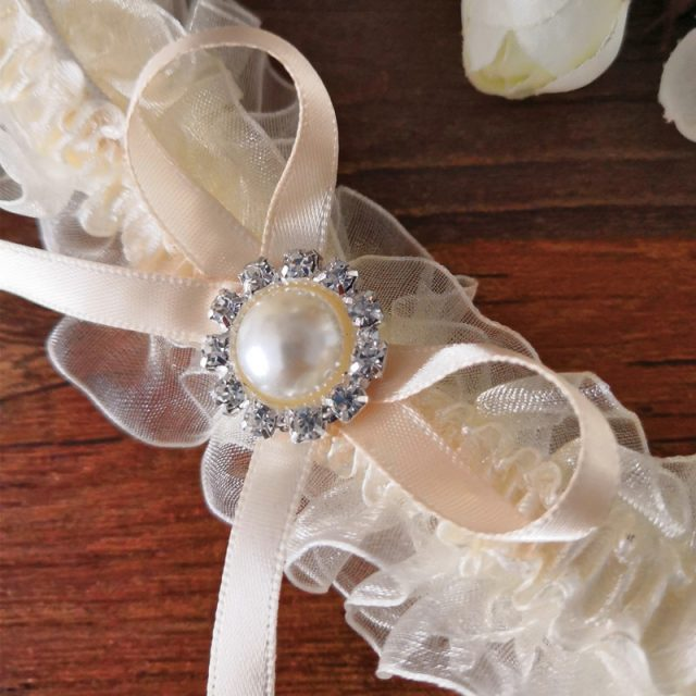 Ivory Garters Wedding: Wedding Vintage Garter Ivory Ribbon Bow With Pearls Bridal