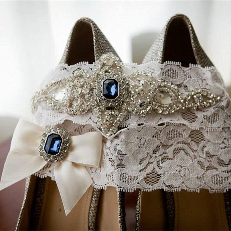 Wedding Bridal Garter Set Blue Crystal Rhinestone Ribbon