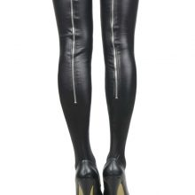 Super Deal Black Leather Stockings Erotic Back Zipper Women Thigh High Stockings