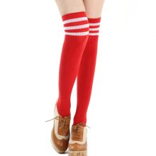 Fashion Striped Over Knee Socks Women Cotton Thigh High Over The Knee Stockings