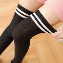 Japan Cute Style  Striped Knee Socks Women Warm Long Stocking Cotton Thigh