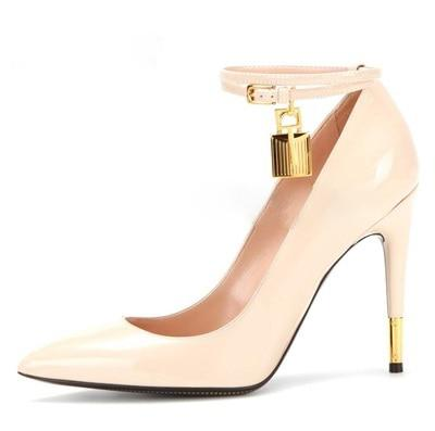 Luxury Golden Lock Ankle Strappy Buckle Sexy Pumps High Heels Wedding Shoes Sandals