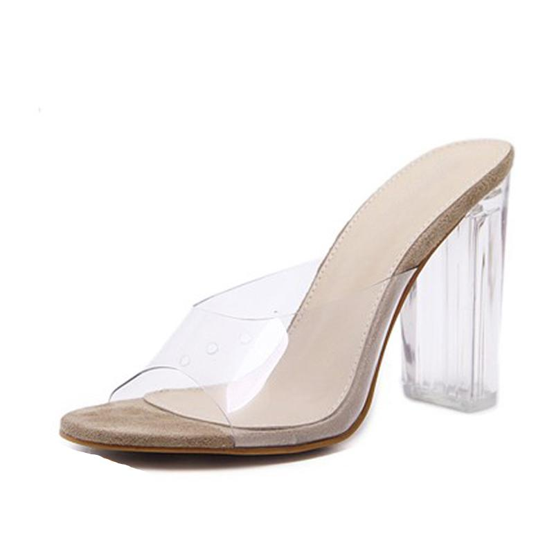 Sandals Pvc Crystal Heel Transparent Sexy Clear High Heels Pumps 11cm Size 35-40