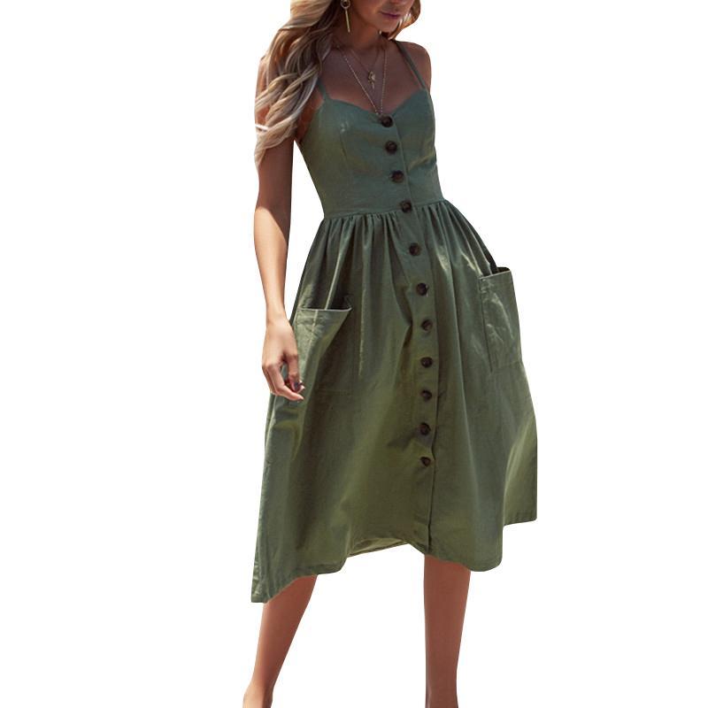 Women's Sexy Dresses Boho Plus Xxxl Backless Sleeveless Button Striped Solid Midi Dress Slip Sundress Pockets