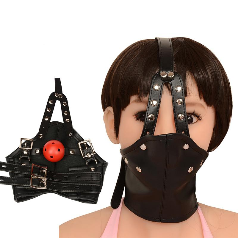 Mask Leather Bondage Restraints Body Hood Harness Mouth Gag Sexy Gear Slave Fetish Erotic Sex